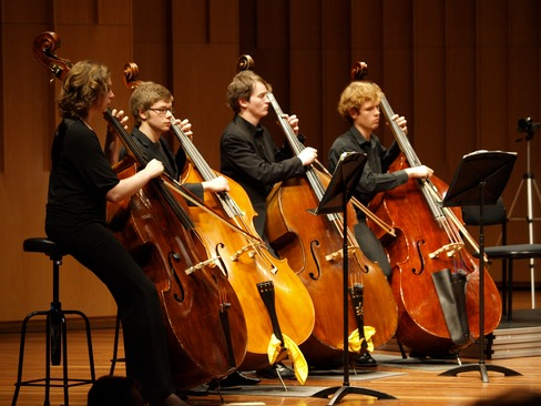 picture of 4 double bass players at canberra school of music