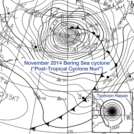 Post-Tropical_Cyclone_Nuri_and_Typhoon_Haiyan_surface_analysis